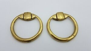2 Piece Circle Brass Dresser Drawer Handle Pull Furniture Hardware Knobs Vintage