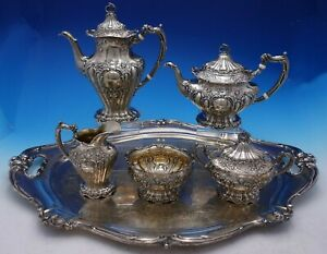 Chantilly By Gorham Sterling Silver Tea Set 5 Piece Hand Chased W Sp Tray 4365