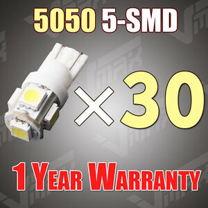 30x T10 5050 W5w 5 Smd 194 168 Led White Car Side Wedge Tail Light Lamp Bulb