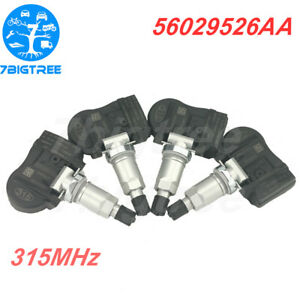4pcs Tpms Tire Pressure Sensor For Chrysler Dodge Jeep 56029526aa 315mhz