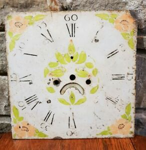 Antique Grandfather Long Case Clock Face Hand Painted Floral Design