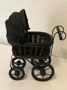 Vintage Baby Doll Pram Carriage Stroller Wicker And Original Canvas 101 2 Inches