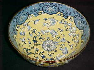 9 Signed Chinese Porcelain Bowl Enamel Yellow Ground Blue White Lotus Flowers