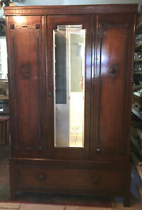 Antique Vintage Armoire Wardrobe Closet Storage Beautiful Dark Wood