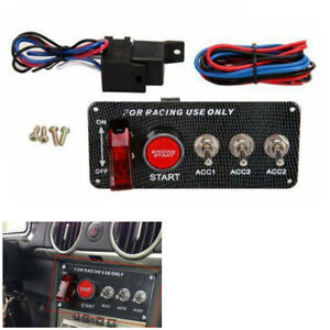 30a12v Ignition Switch Panel Engine Start Push Button Led Toggle Racing Car
