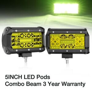 Quad Row 5inch 350w Led Pods Work Light Bar Combo Off Road Driving Truck 4wd 12v