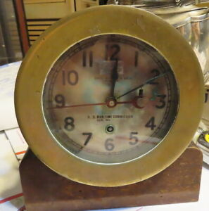 Chelsea Ships Clock Time Only 1940 U S Commission Bronze Case Runs 416269 Navy