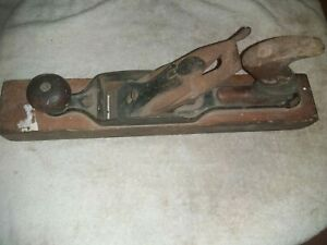 Vintage Antique Weathered Wood Block Plane 15 Inch Primitive Farm Carpenter Tool