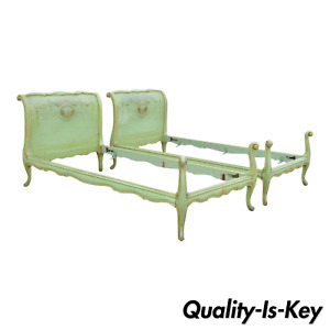 Pair Antique French Louis Xv Green Distress Painted European Twin Bed Frames