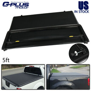 5ft Bed Black Soft Tri fold Tonneau Cover For 2015 2019 Nissan Frontier Pickup