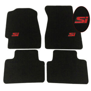 For 92 95 Honda Civic Floor Mats Black Nylon Carpets Front Rear 4pc Non slip Set