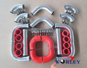 Universal 2 5 Aluminum Turbo Intercooler Piping elbow red Coupler Kit 64mm