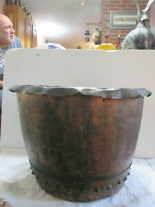 18th Century Riveted Copper Cauldron Garden Planter Pot Log Coal Bucket