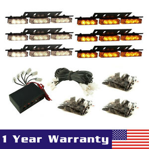 54 Led Emergency Warning Strobe Lights Bars Deck Dash Grill Amber White Yellow