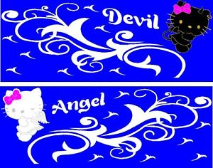 Hello Kitty Angel N Devil Decal Graphic Vinyl W Tribal Design For Side Of Car