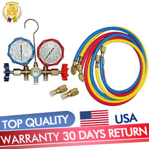 R410a R22 Manifold Gauge Set Ac A c 5ft Color Hose Air Conditioner Hvac 59 New