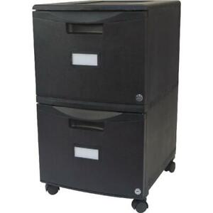 Mobile Filing Cabinet 2 Drawer Locking Black Office Document Storage Storex Usa