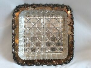 Wm Rogers Silverplate Old English Reproduction 9 1 4 Square Tray W Glass Insert