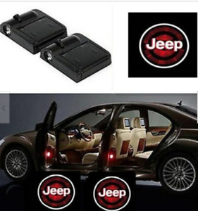 2pcs Wireless Led Car Door Step Courtesy Shadow Laser Lights For Jeep Logo