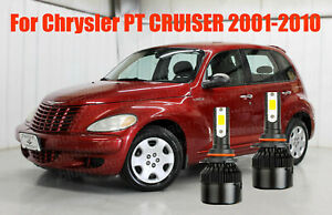 Led Pt Cruiser 2001 2010 Headlight Kit 9006 Hb4 6000k White Cree Bulbs Low Beam