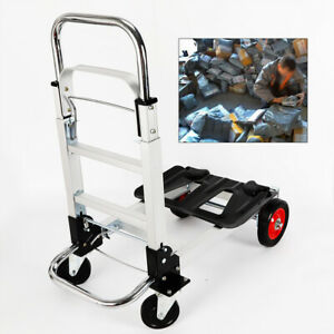 Folding Hand Truck And Dolly Heavy duty Luggage Trolley Cart With Rubber Wheels