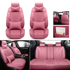 Pink Car Seat Cover Full Set Headrests cushion 100 Pu Leather 5 Seat Protector