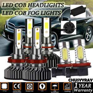 6pc Led Headlights High low Beam h11 Fog Lights White For Toyota Venza 2009 2016