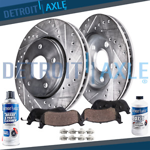 345mm Front Drilled Brake Rotors Ceramic Pads 2008 2009 2010 2014 Cadillac Cts