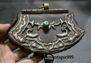 15cm Ancient Tibet Silver Leather Beast Pattern Noble Jewelry Box Bag Case