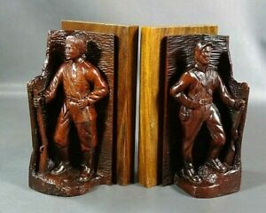 Old Pair Carved Wood Wooden Bookends Figures Soldier Officer Uniform Rifle Gun