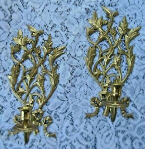 Vintage Pr Solid Brass Ornate Wall Sconces Candle Holders Trailing Leaves Bows