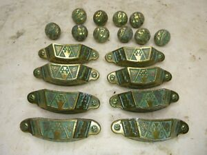 Vintage Cast Brass Drawer Pulls Knobs Keeler Bros Lot Ornate Deco
