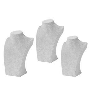 3pcs Necklace Pendant Display Bust Mannequin Rack Jewelry Store Parts Gray