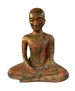 Antique Thai Style Wood Monk Or Devotee Disciple Of Buddha Statue 23cm 9