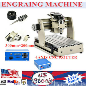 300w 4axis 3020 Cnc Router Engraver Milling Engraving Metal Cutter Machine 220v