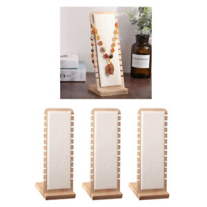 3pc White Stylish Necklace Display Stand Holder Storage Leather Surface