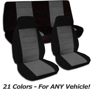 Two tone Car Seat Covers For Any Car truck van suv jeep Full Set Front Rear 21cc