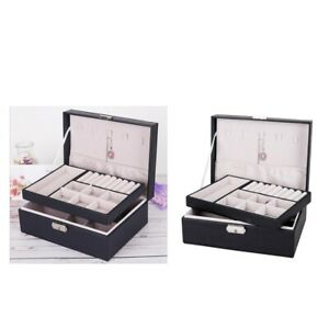 2pcs Jewelry Box Organizer Dual Layer Case For Earrings Necklace W Lock