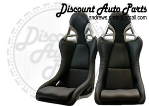 Porsche 997 Style Gt3 Seats In Black Leather W Black Frp Backing Euro Gt2 Pair