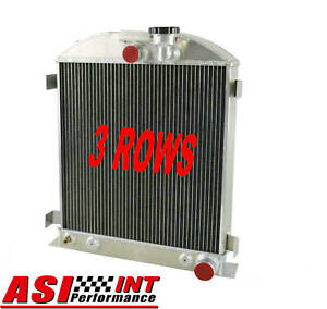 Asi 3 Row Aluminum Radiator For 1932 1934 1939 1940 Ford Grill Shells 3 Chopped