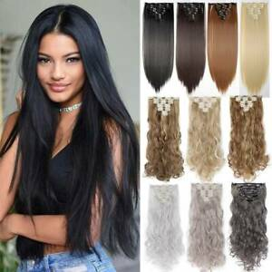 US 8 Pieces Clip In Hair Extensions Full Head Natural As Human Real Long Thick $10.70