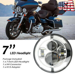 Motorcycle 7 Round Led Hi lo Beam Projector Headlight For Harley Jeep Wrangler