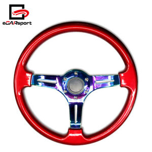 Car Racing Steering Wheel 350mm Abs Deep Dish 14 Drifting Neo Chrome Red