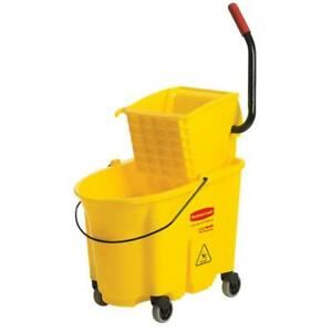 Wavebrake 35 Qt Plastic Mop Bucket With Wringer Yellow