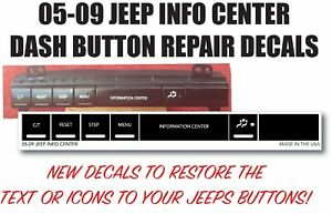 05 09 Fits Chrysler Jeep Dash Cherokee Commander Repair Stickers