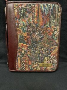 Day Timer Tapestry Cow Hide Leather 10 1 2 X 7 1 2 Handle 7 Ring Planner