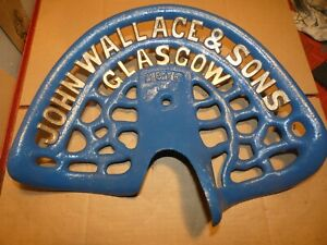 John Wallace Vintage Cast Iron Tractor Implement Seat Nameplate Antique