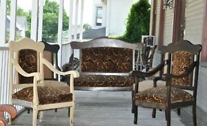 Antique Parlor Set Settee Loveseat Plus 4 Matching Chairs