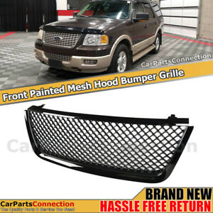 For Ford Expedition 2003 2006 Front Hood Bumper Mesh Grille Painted Glossy Black