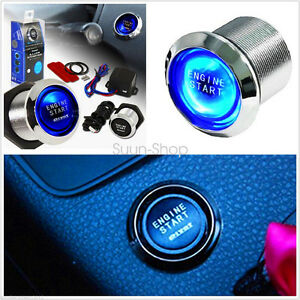 Universal 12v Car Engine Start Push Button Switch Ignition Starter Kit Blue Led